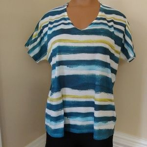 Coldwater creek v neck striped top small 8